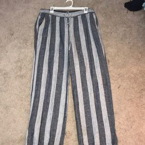 Flowy Striped Drawstring Beach Pants (L)